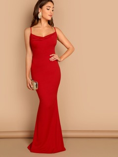 Cowl Neck Criss Cross Back Draped Gown