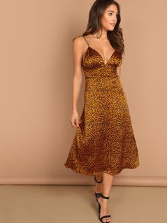Leopard Print Ruched Bust Midi Sleeveless Dress