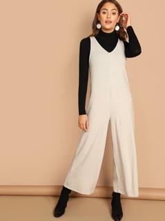 V-Neck Soft Knit Palazzo Pant Jumpsuit