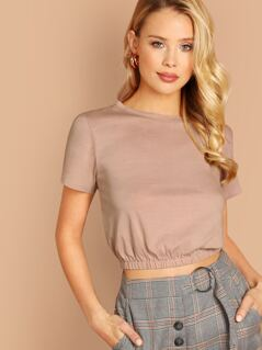 Elasticized Banded Hem Round Neck Crop T-Shirt