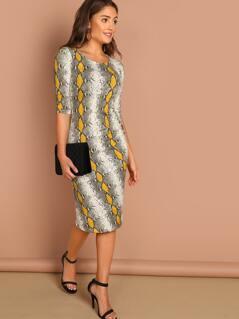 Snake Print Round Neck Jersey Midi Dress