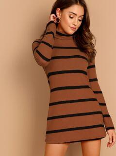 Striped Soft Knit Turtleneck Sweater Dress