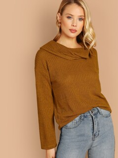Cowl Neck Textured Knit Pullover Sweater