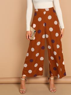 Large Polka Dot Wide Leg Crop Palazzo Pants