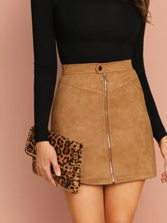 Faux Suede Zip Front Mini Pencil Skirt