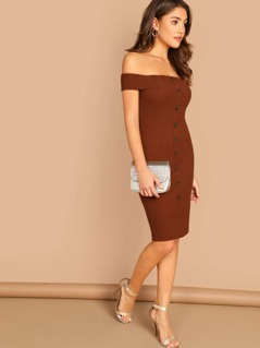 Button Detail Bardot Rib Knit Knee Length Dress