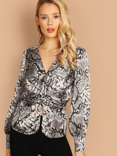 Snake Print V-Neck Twist Front Long Sleeve Blouse