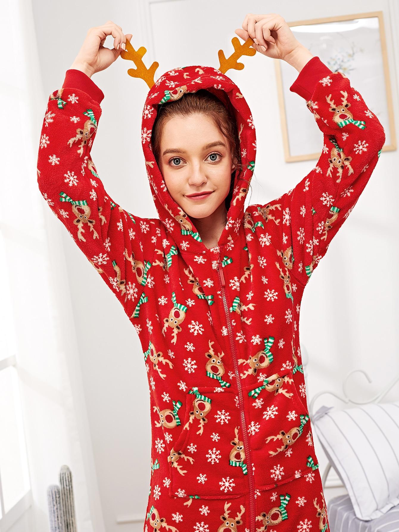 Купить Пушистая пижама с застёжкой молния в форме оленя, Poly, SheIn