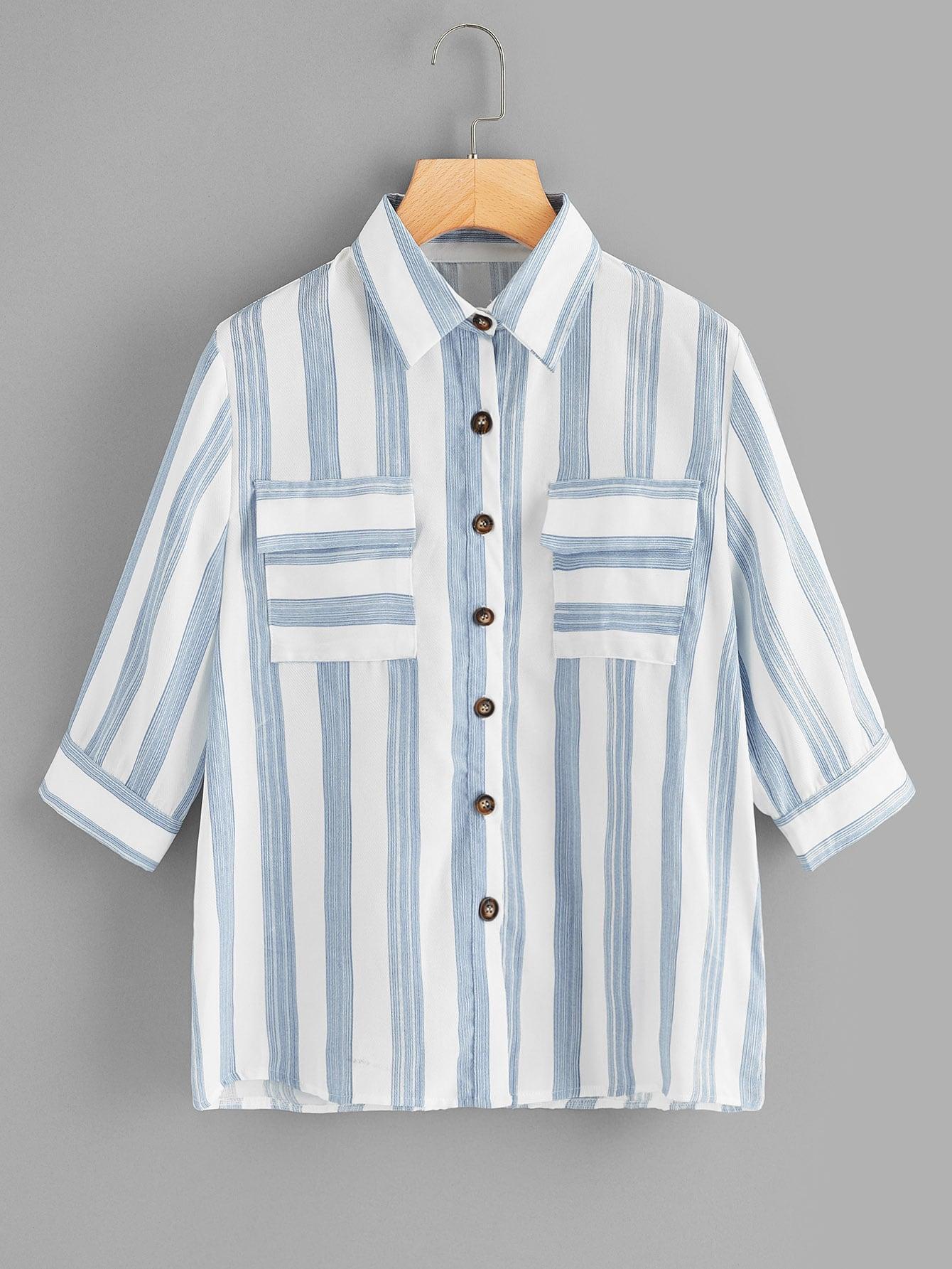 Купить Полосатая блуза с карманом, null, SheIn