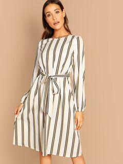 Waist Knot Striped Dress