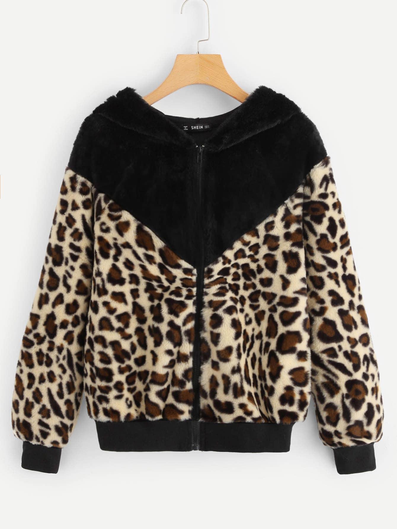 Купить Контрастное леопардовое тедди пальто на молнии, null, SheIn