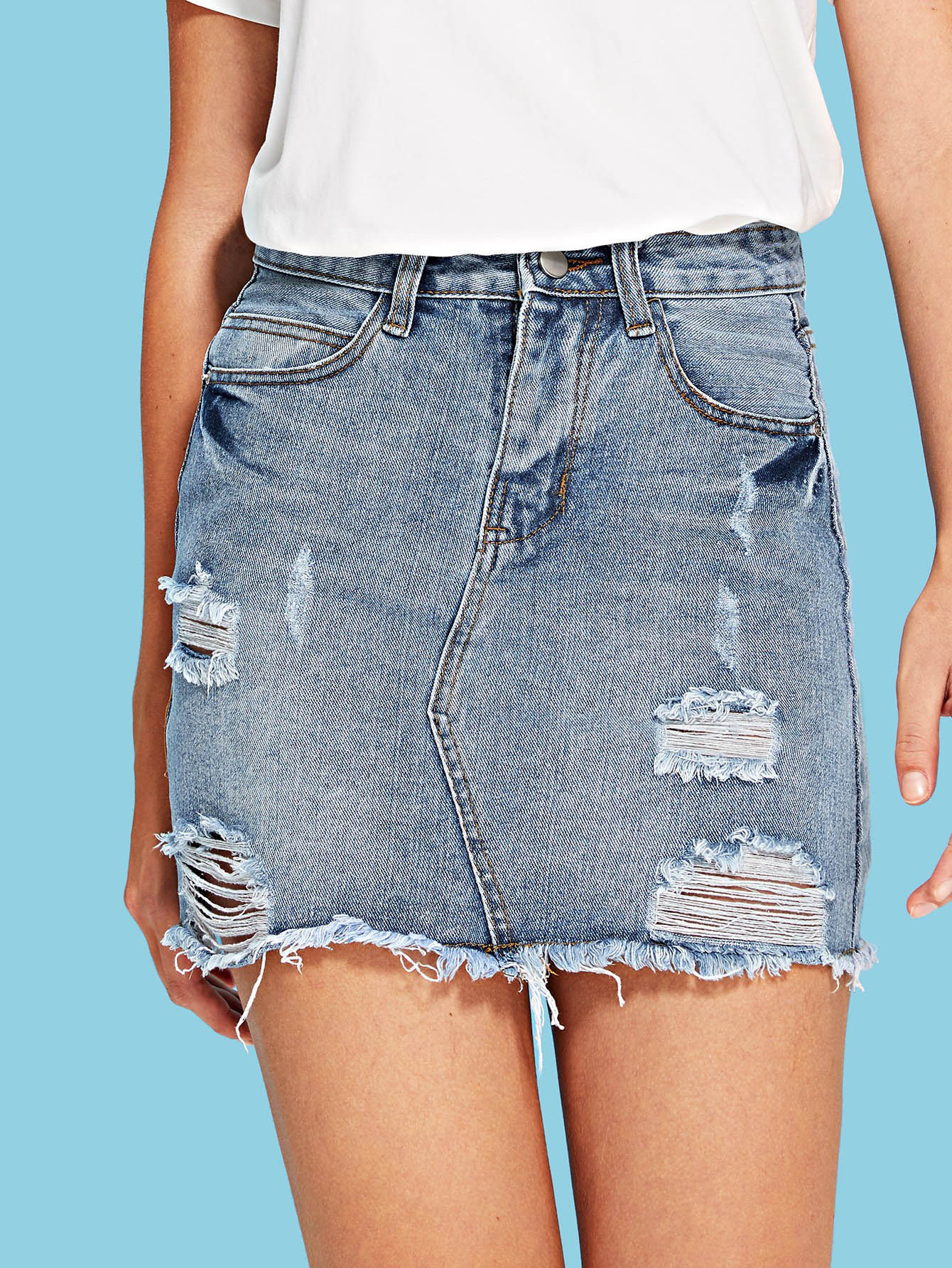 Купить Рваная джинсовая юбка со сырой отделкой, Luiza, SheIn