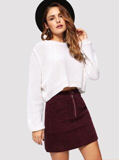 Pocket Front Corduroy Skirt