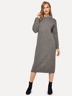 Drop Shoulder Heathered Knit Sweater Dress