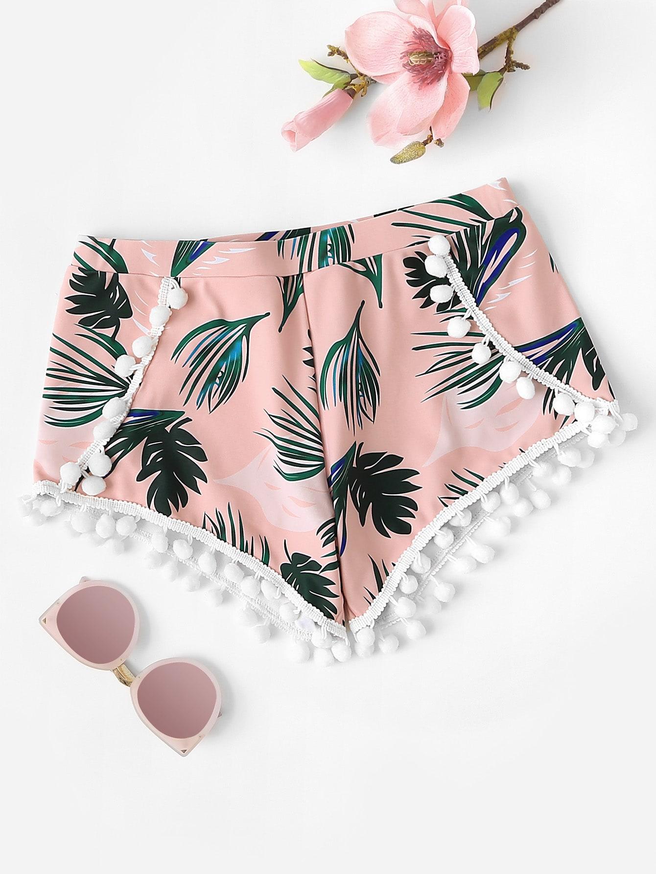 Купить Pom Pom Trim Palm Print Пляжные шорты, null, SheIn