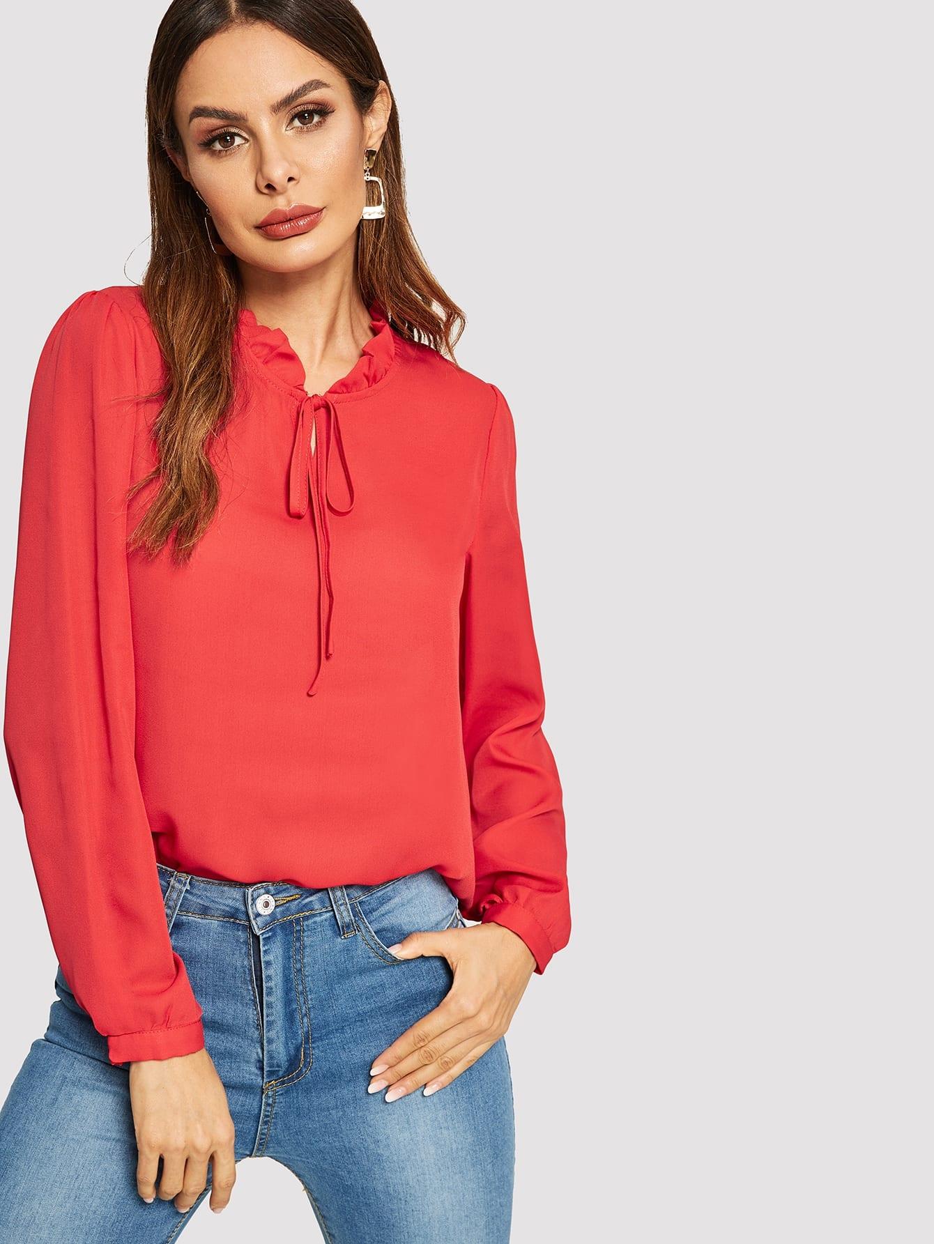 Купить Однотонная блузка со складкой и узелом, Andy, SheIn