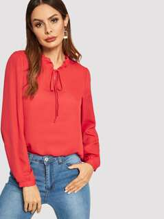 Frilled Trim Knot Neck Solid Blouse