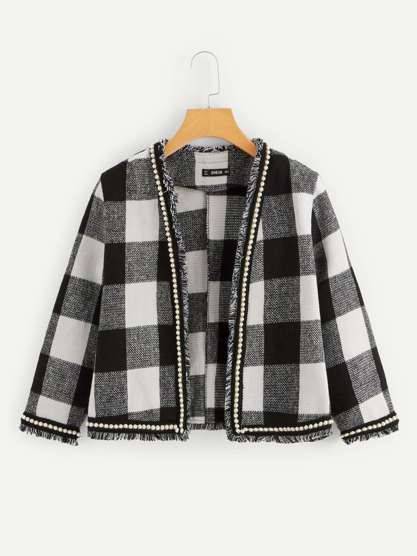Фото - Твидовое пальто с бахромой с бисерами от SheIn цвет чёрнобелые