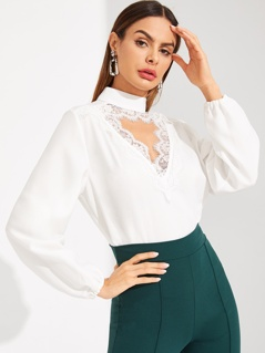 Lace Cutout Choker Neck Bishop Sleeve Top