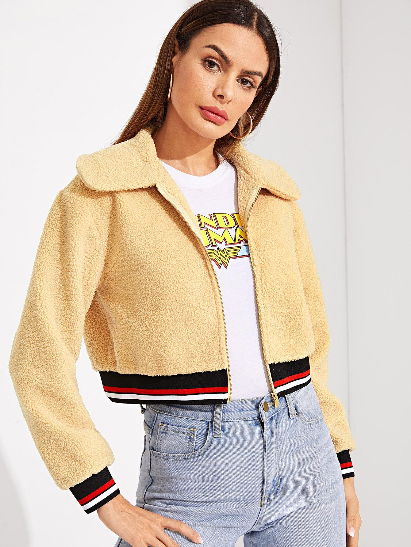 Купить Пушистая куртка на молнии с полосатым низом, Andy, SheIn