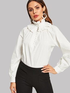 Frill Trim Button Front Solid Top