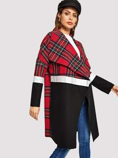 Waterfall Collar Open Front Plaid Panel Coat