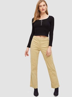 Zip Fly  Straight Leg Solid Pants