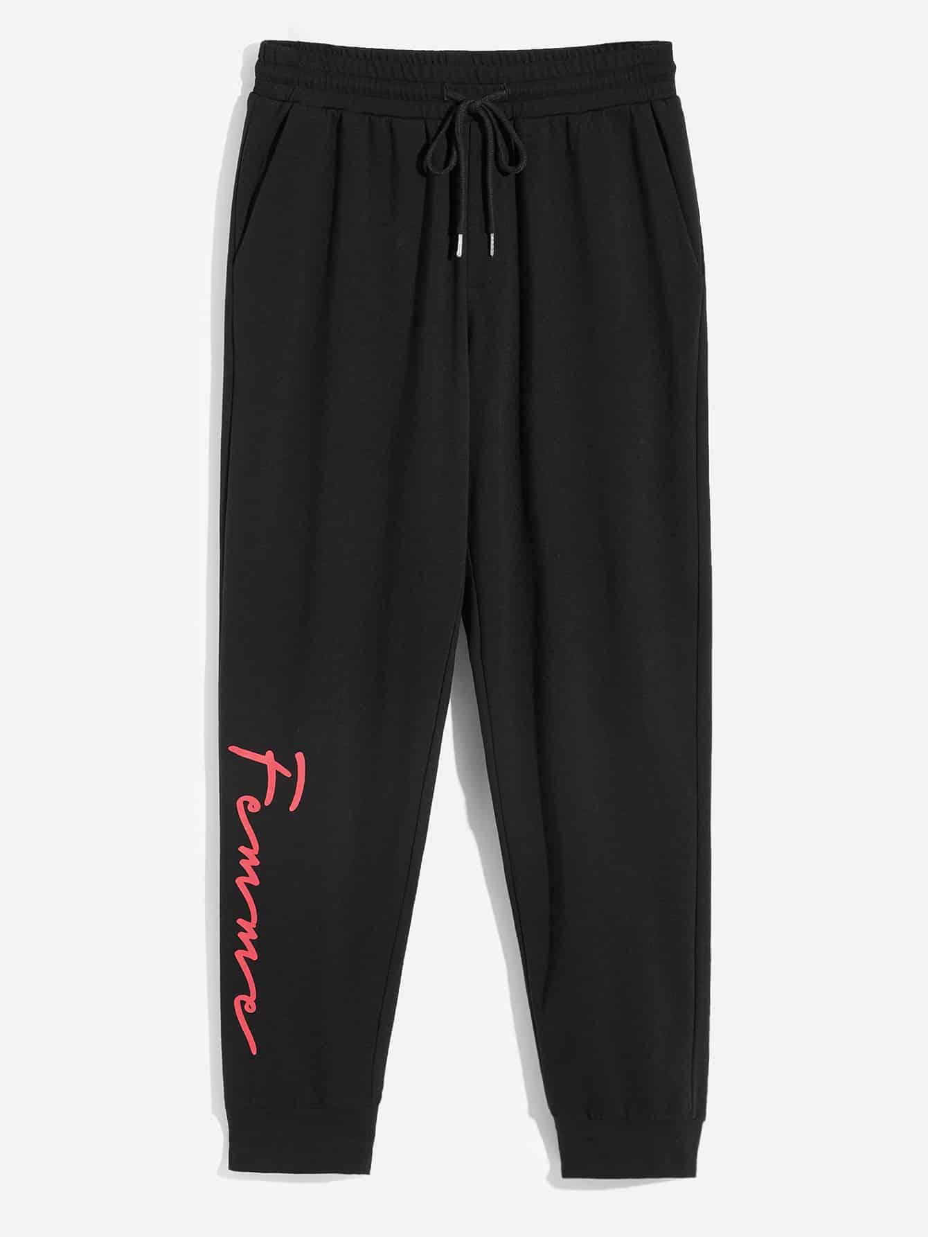 Купить Мужские брюки с текстовым принтом и кулиской, null, SheIn