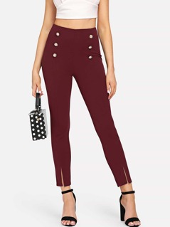 Double Breasted Front Split Skinny Pants