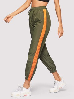 Drawstring Waist Contrast Tape Side Pants