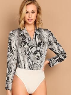 Surplice Neck Snake Skin Shirt Bodysuit