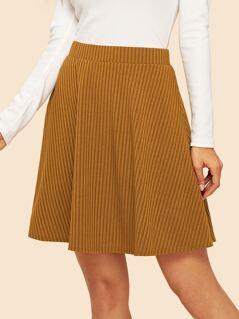 Elastic Waist Rib-Knit 90s Skirt