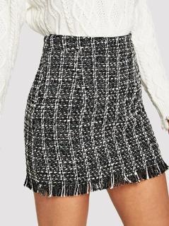Fringe Detail Tweed Bodycon Skirt