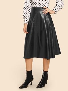 Zip Detail Flare 70s PU Skirt