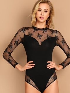 Lace insert Fitted Sweetheart Bodysuit