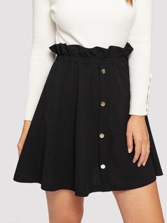 Paperbag Waist Button Front Skirt
