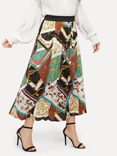 Plus Chain Print Pleated Skirt