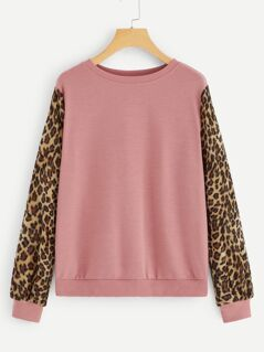 Contrast Leopard Print Sleeve Pullover