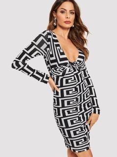 Twist Front Graphic Print Dress