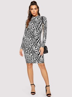 Mock Neck Zebra Print Pencil Dress