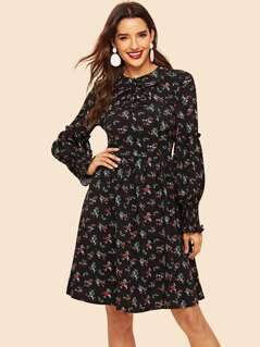 Button Detail Shirred Panel Ruffle Floral Dress