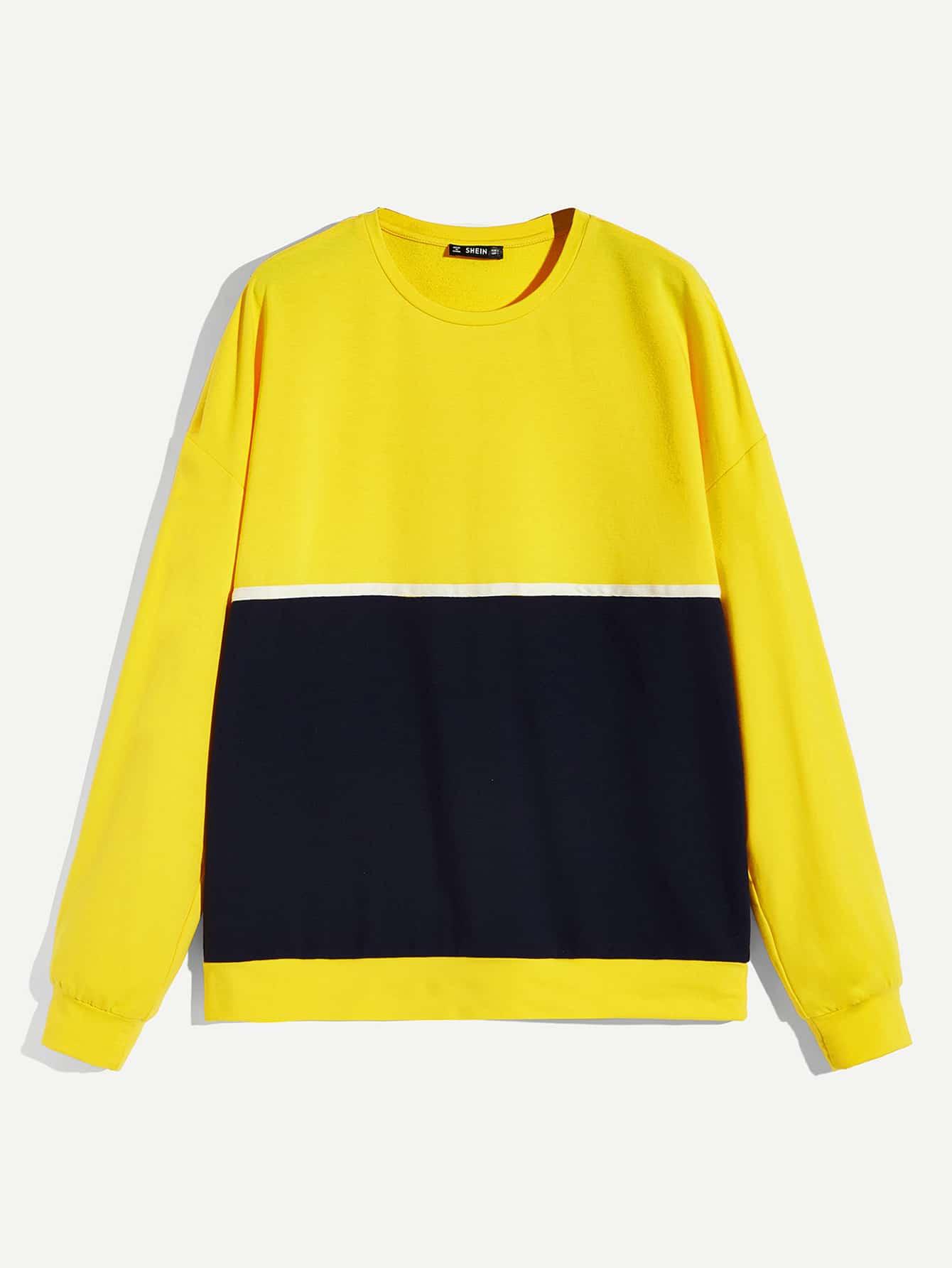 Купить Мужский контрастный пуловер с заниженной линией плеч, null, SheIn