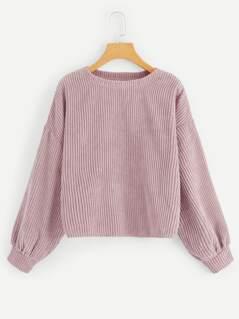 Drop Shoulder Ribbed Cord Pullover