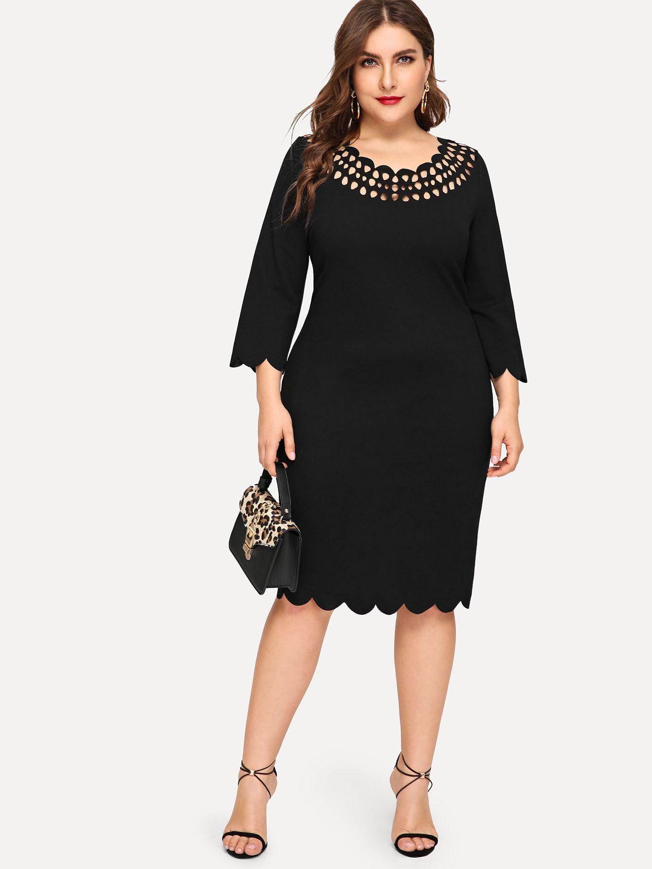 Купить Платье с ажурным воротом размера плюс, Franziska, SheIn