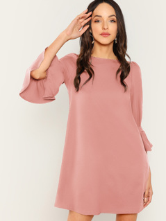 Bell Sleeve Solid Dress