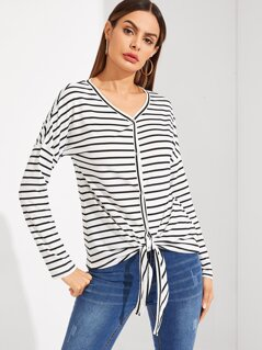 Snap-button Knot Striped Tee
