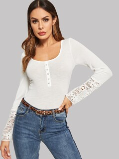 Ribbed Knit Button Lace Cuff T-shirt