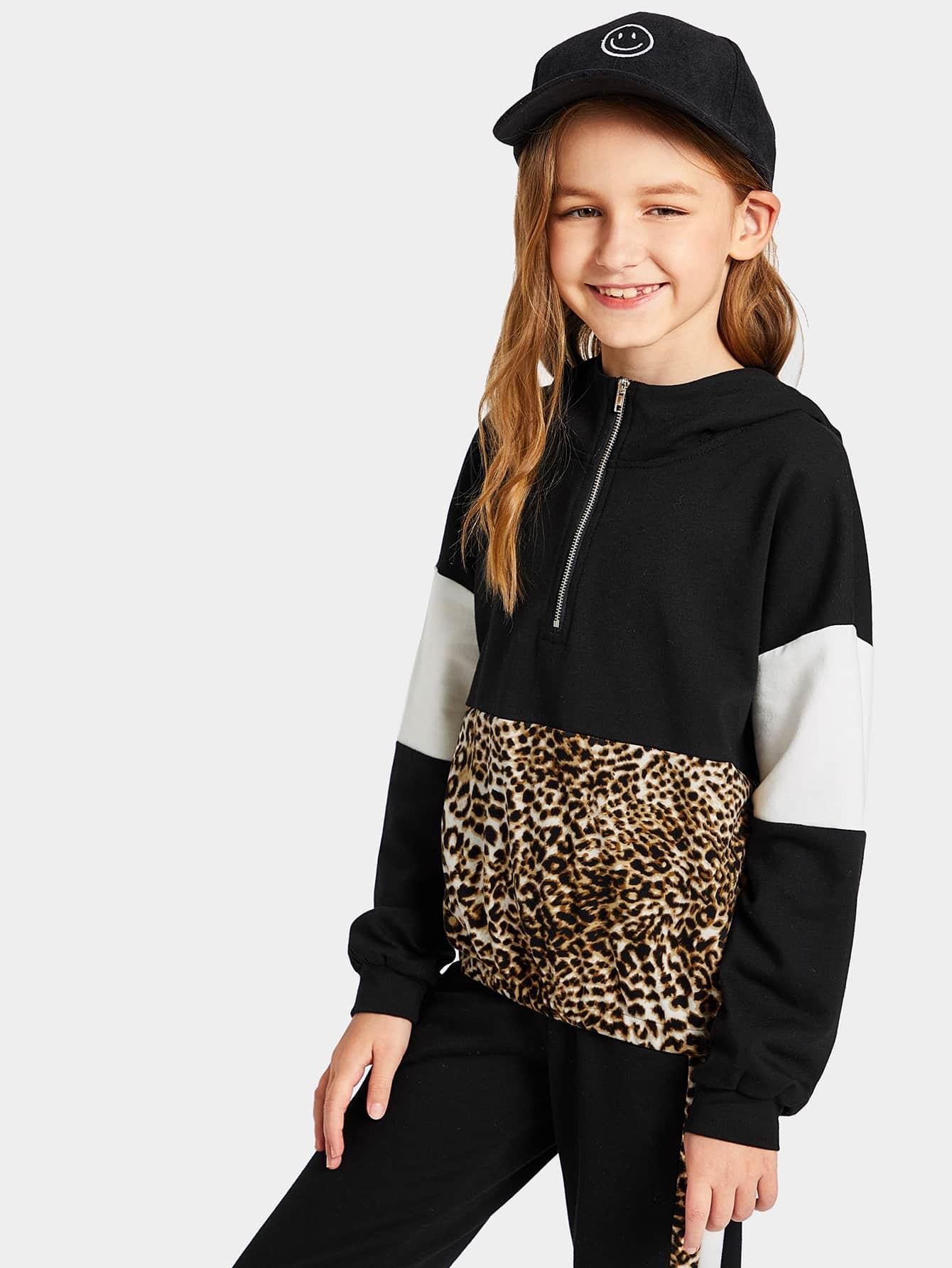 Купить Контрастная леопардовая толстовка и брюки комплект для девочек, Sashab, SheIn