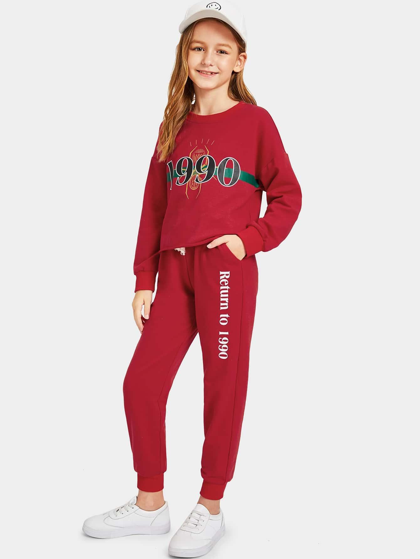 Пуловер с графическим принтом и спортивные брюки для девочек от SheIn