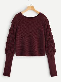 Crochet Knit Raglan Sleeve Sweater